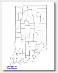 printable Indiana county map unlabeled