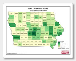 printable Iowa population by county map