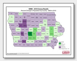 printable Iowa population population change map