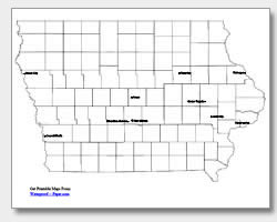 printable Iowa major cities map labeled