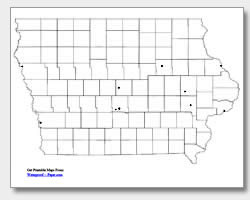 printable Iowa major cities map unlabeled