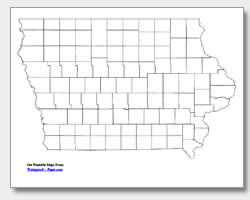 printable Iowa county map unlabeled