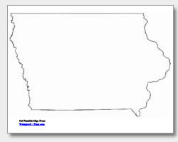 printable Iowa outline map