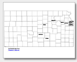 printable Kansas major cities map labeled