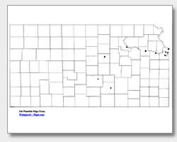 printable Kansas major cities map unlabeled