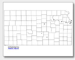 printable Kansas major cities map unlabeled