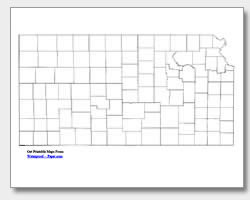 printable Kansas county map unlabeled