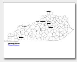 printable Kentucky major cities map labeled