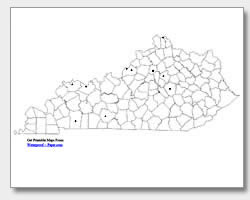 printable Kentucky major cities map unlabeled