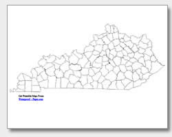 printable Kentucky county map unlabeled