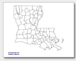printable Louisiana county map unlabeled