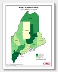 printable Maine population by county map