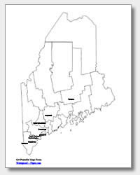 printable Maine major cities map labeled