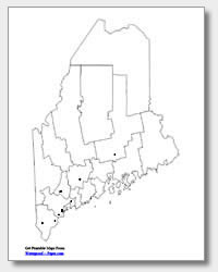 printable Maine major cities map unlabeled