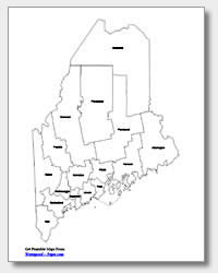 printable Maine county map labeled