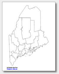 printable Maine county map unlabeled