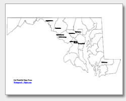 printable Maryland major cities map labeled