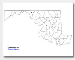 printable Maryland major cities map unlabeled