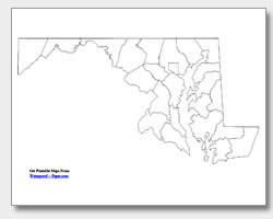 printable Maryland county map unlabeled