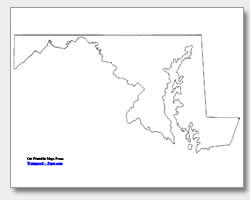 Printable Maryland Maps State Outline County Cities - Maryland printable map