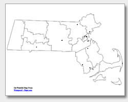 printable Massachusetts major cities map unlabeled