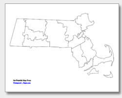 printable Massachusetts county map unlabeled