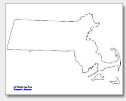 printable Massachusetts outline map