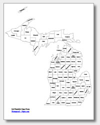printable Michigan county map labeled