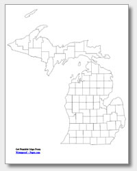 printable Michigan county map unlabeled