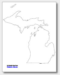 printable Michigan outline map