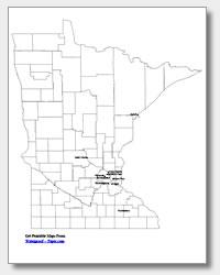 printable Minnesota major cities map labeled