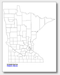 printable Minnesota major cities map unlabeled