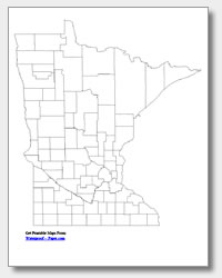 printable Minnesota county map unlabeled