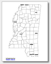 printable Mississippi major cities map labeled