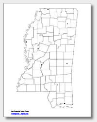 printable Mississippi major cities map unlabeled