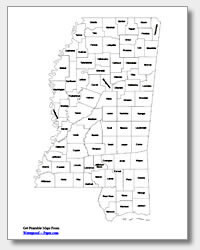 printable Mississippi county map labeled