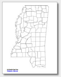 printable Mississippi county map unlabeled