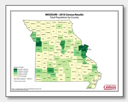 printable Missouri population by county map