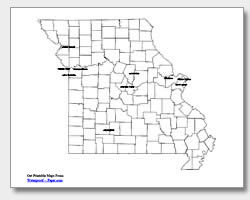 printable Missouri major cities map labeled