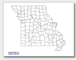 printable Missouri major cities map unlabeled