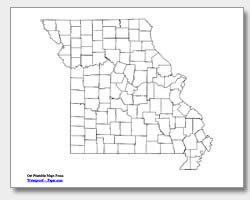 printable Missouri county map unlabeled