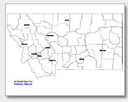 printable Montana major cities map labeled