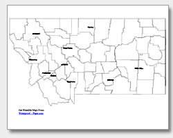 printable Montana major cities map labeled