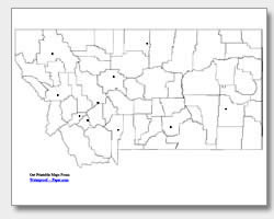 printable Montana major cities map unlabeled
