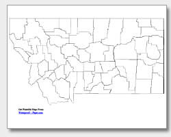 printable Montana county map unlabeled