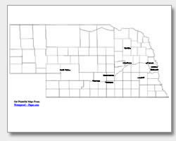printable Nebraska major cities map labeled
