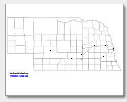 printable Nebraska major cities map unlabeled
