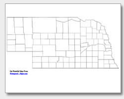printable Nebraska county map unlabeled