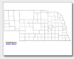 printable Nebraska county map unlabeled