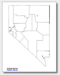 printable Nevada major cities map unlabeled